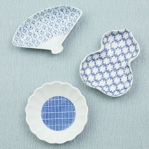 印判豆皿3枚セット(たんぽぽ/瓢箪/扇)