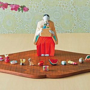 奈良一刀彫 月こよみ+鏡富士形しき板