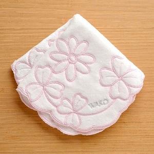 タオルハンカチーフ 花とクローバー 白×ピンク