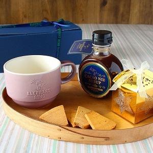 マグカップ(ラベンダー)+カカオニブシロップ+バウムラスク小箱(ゴールド)ギフトセット