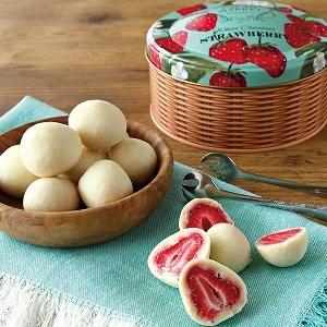 ホワイトチョコレートストロベリーボール缶