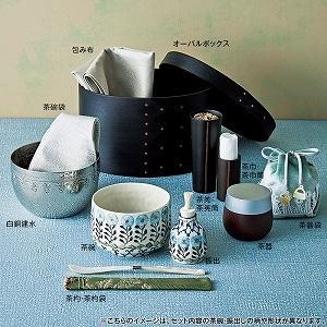 つちやまりさん オーバルボックス茶箱 ブルーH