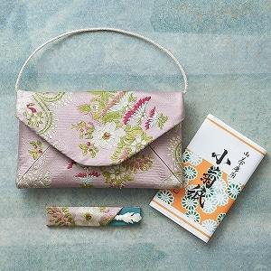 仏シノワズリ数寄屋袋セット(福楊枝・懐紙付き)ピンク