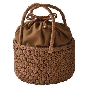 山ぶどう籠バッグ 花編み丸型
