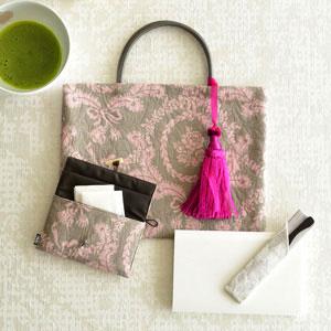 ジャカード織の茶礼ふくろと小茶巾入れ6点セット ピンク