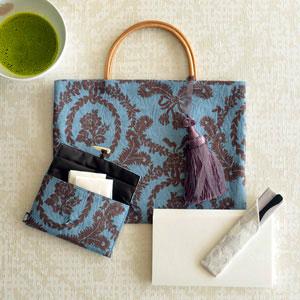 ジャカード織の茶礼ふくろと小茶巾入れ6点セット ブルー