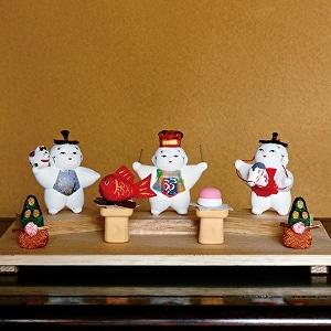 豆御所人形 お正月飾り「吉兆」(3体セット)