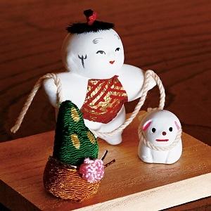 豆御所人形 お正月飾り「笑門」(1体)