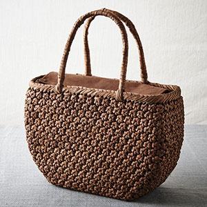 山ぶどう籠バッグ 花結び編み舟型