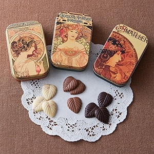 リーフチョコレート 小缶3缶セット 巾着袋付