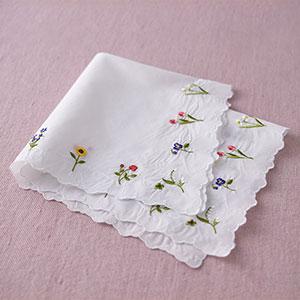 刺繍ハンカチーフ 白