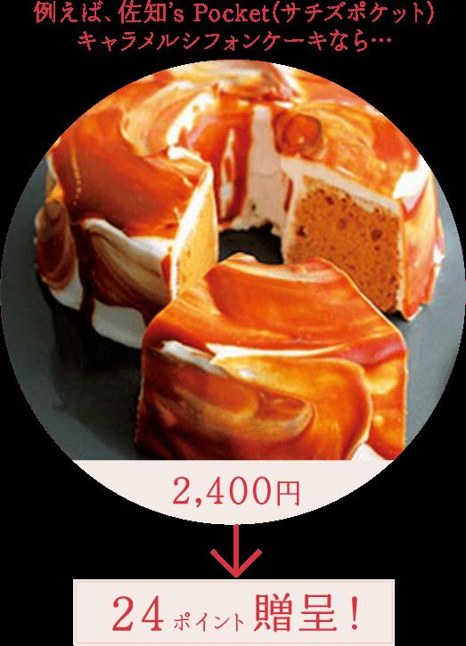 例えば、佐知's Pocket(サチズポケット)キャラメルシフォンケーキなら… 2,400円 ⇒ 24ポイント贈呈